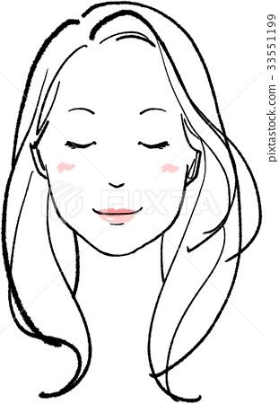 图库插图: 漂亮 长头发 长发
