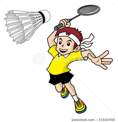 图库插图: 羽毛球 运动 儿童