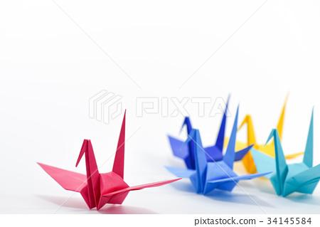 图库照片: 鹤 折纸 多彩