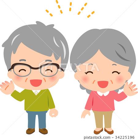 图库插图: 老人 微笑 笑脸