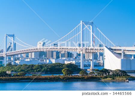 图库照片: 东京风景俯瞰台场彩虹桥的风景