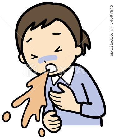 图库插图: 呕吐 呼气 女生