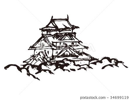 大阪 大阪城 插图 大阪城 印度水墨画 城堡 首页 插图 日本风景 大阪