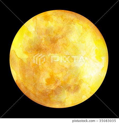 图库插图: 月亮 月 水彩画