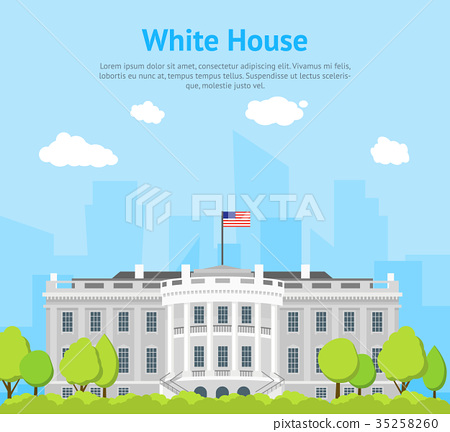 图库插图: cartoon white house building card poster. vector