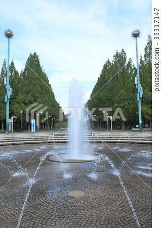 图库照片: 喷泉 鹤见绿地 公园