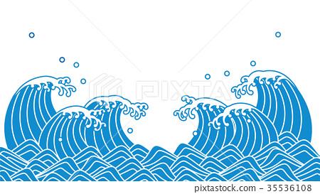 插图 背景_小物 风格 和风 蓝波日式