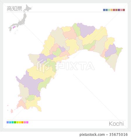 图库插图: 矢量 高知县 四国岛