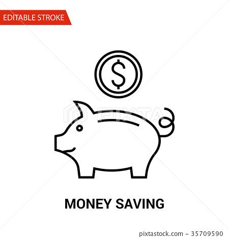 图库插图: money saving icon. thin line vector illustration