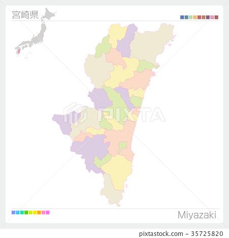 图库插图: 宫崎县地图(城市/城市/颜色编码)