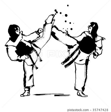 图库插图: 跆拳道 踢 黑白