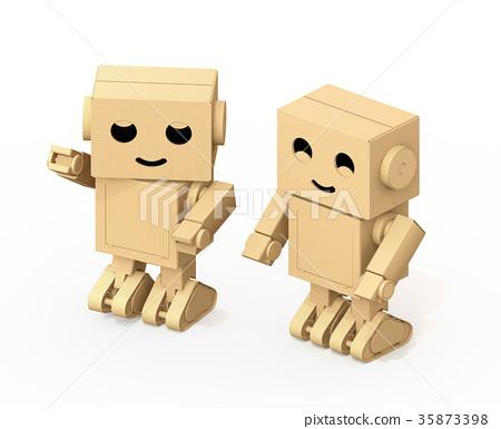 图库插图: 机器人 人物 纸箱