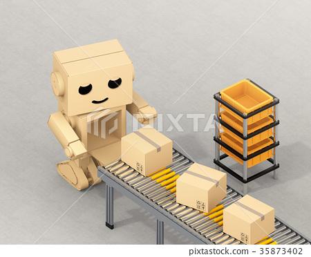 图库插图: 机器人 运输 纸箱