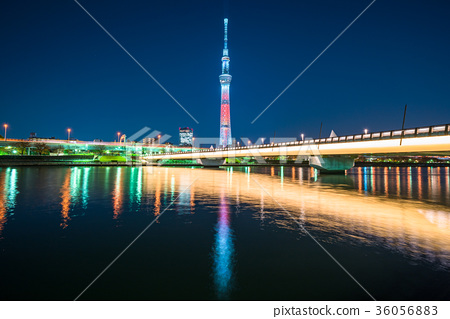 东京 东京晴空塔 东京スカイ天空树·樱花桥照亮  *pixta限定素材仅在