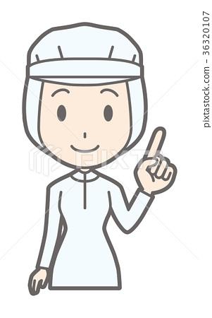 插图素材: 白色卫生学的一名女工佩带手指