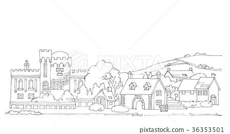 图库插图: 欧洲农村风景,线描
