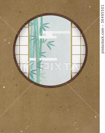 竹 首页 插图 植物_花 树_树木 竹子 圆窗 竹子 竹  *pixta限定素材仅