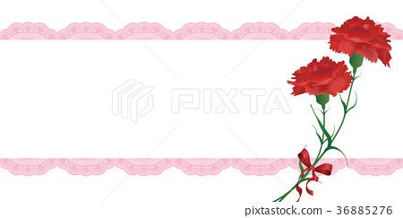 图库插图: 母亲节 康乃馨 彩带