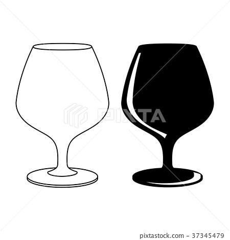插图素材: brandy glass. black and white icons