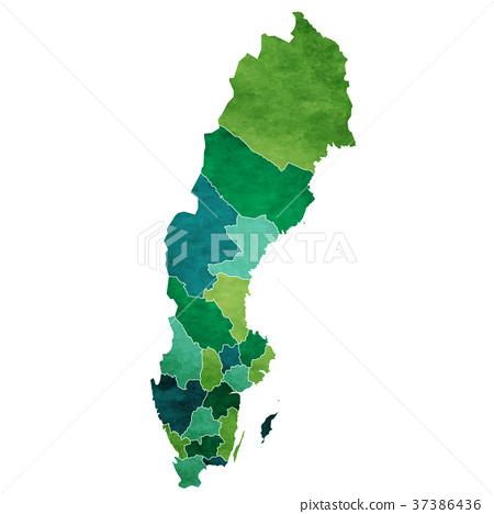 插图素材: 瑞典 地图 国
