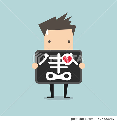 插图素材: businessman broken heart with x-ray scan图片