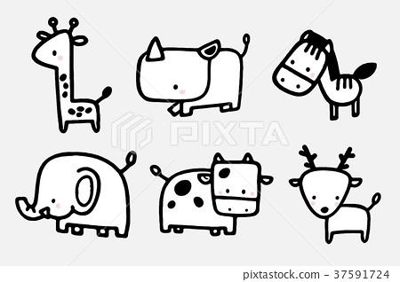 动物园zoo卡通简笔画