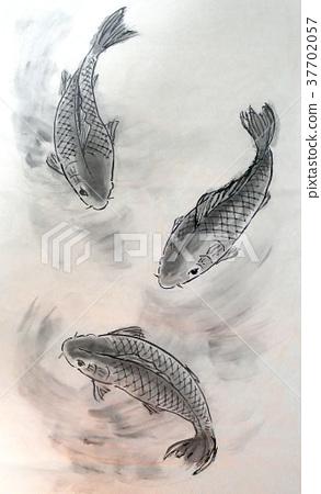 首页 插图 运动_运动 水上运动 游泳 鱼 鲤鱼 水墨画  *pixta限定素材