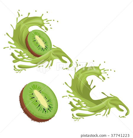 图库插图: kiwi fruit splash