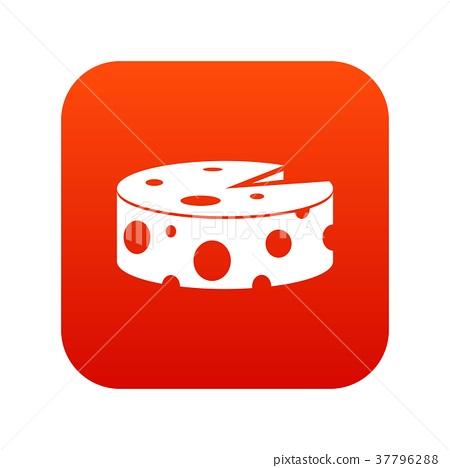 插图素材: cheese wheel icon digital red