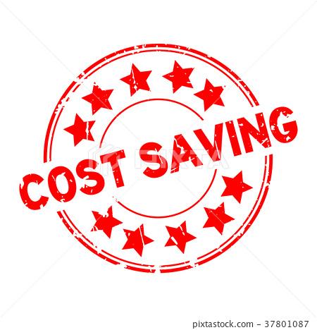 图库插图: grunge red cost saving round rubber seal stamp