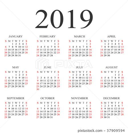 2019日历手绘图