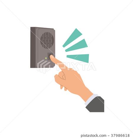 图库插图: 矢量 电话门铃 按下