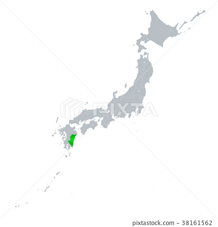 图库插图: 宫崎县地图日本列岛