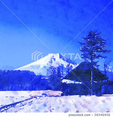 图库插图: 富士山 水彩 水彩画