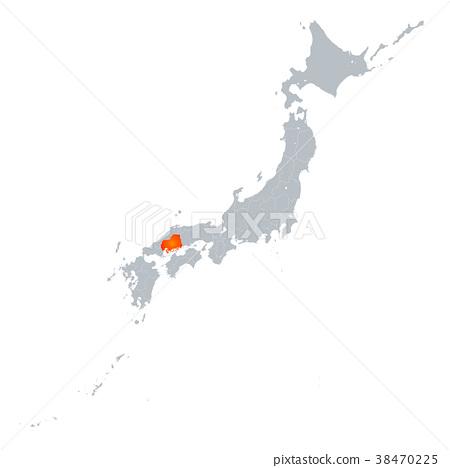 图库插图: 广岛 广岛县 地图