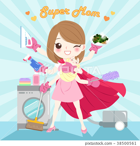 图库插图: cartoon super mom
