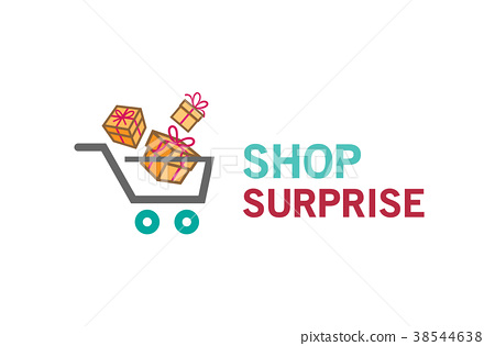 插图素材: shopping cart and gift packs surprise logo design