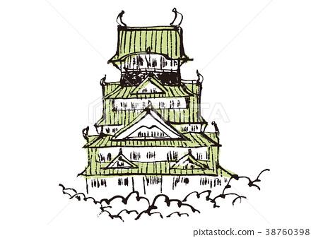 插图 日本风景 大阪 大阪城 大阪城 水彩 水彩画  *pixta限定素材仅在