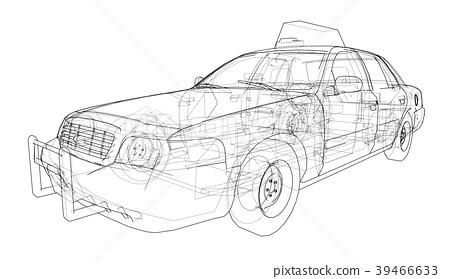 插图素材: taxi outline drawing