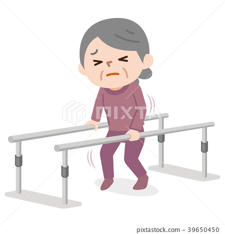 图库插图: 步态训练 老人 矢量