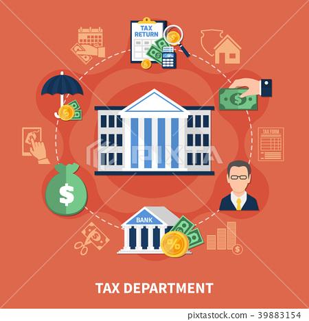 department简写_图库插图: tax department round composition
