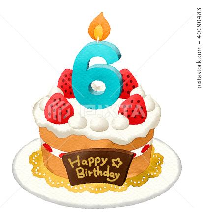 插图素材: 生日蛋糕(水彩)6岁