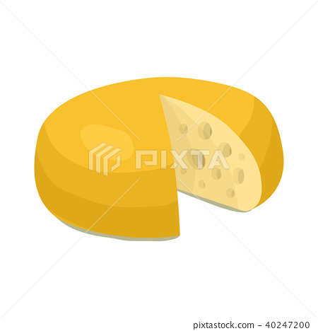 插图素材: cheese wheel icon, cartoon style