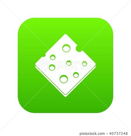 插图素材: cheese fresh block icon digital green