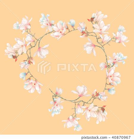 插图素材: 水彩玉兰花花卉和树枝