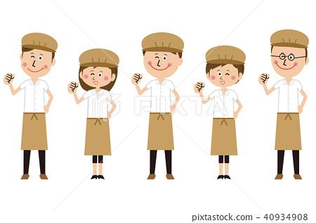 插图素材: 流行咖啡馆店员或面包师的女孩的姿势