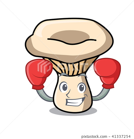 插图素材: boxing milk mushroom character cartoon