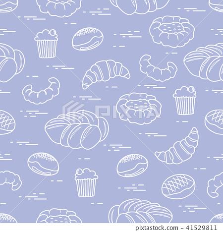 插图素材: pattern of different bakery products (bun