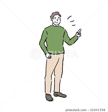 图库插图: 中年男性手绘插图