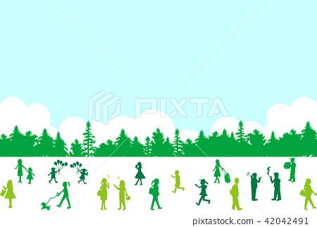 图库插图: 人物剪影森林